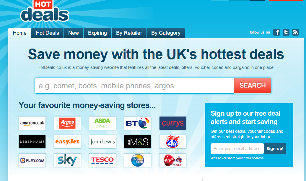 Sign up to get hot deals alters