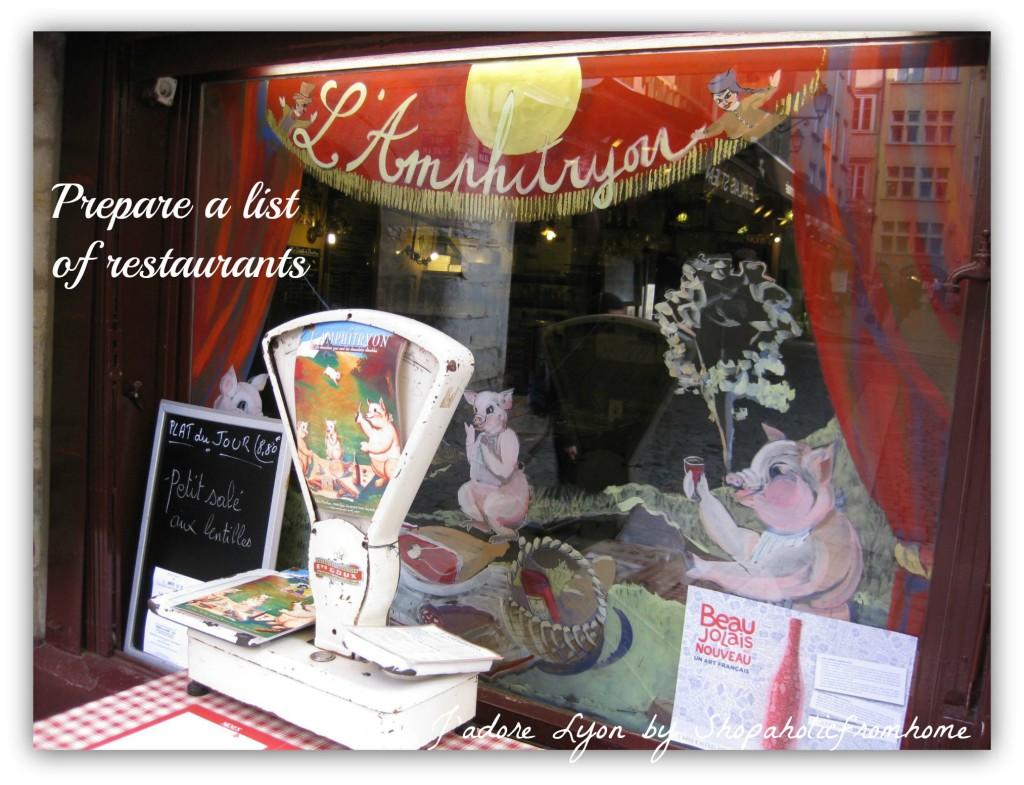 Prepare a list of restaurants