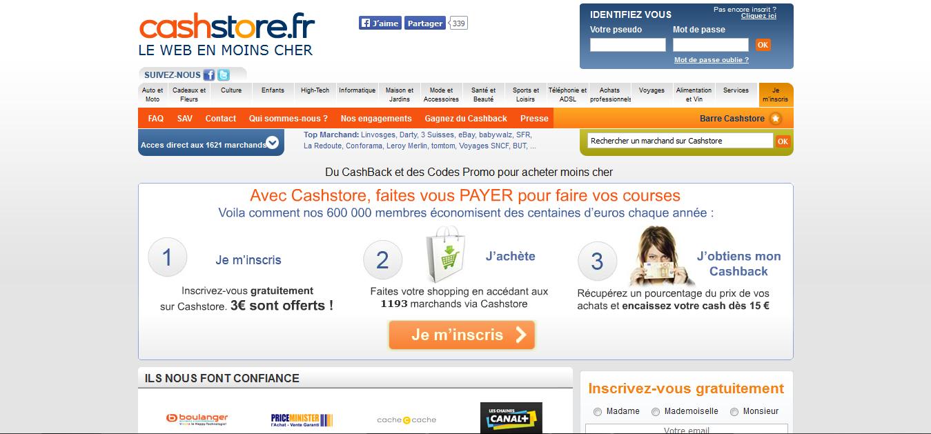 Cashstore.fr Cashback Website