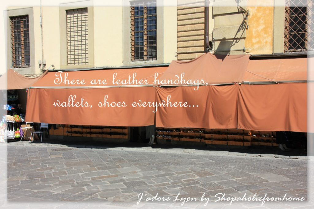 there are handbags, leather wallets, shoes everywhere FLORENCE