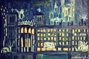 Lyon Center by night by Jean Couty