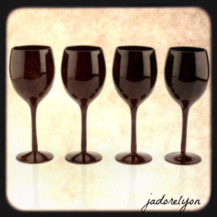black wine glasses