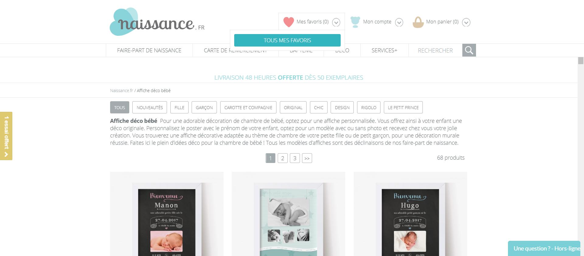 Affiche déco bébé produit à personnaliser Naissance.fr